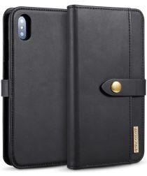Apple iPhone XS Max Leren 2-in-1 Bookcase en Back Cover Hoesje Zwart