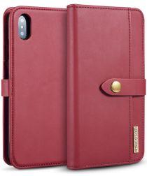 Apple iPhone XS Max Leren 2-in-1 Bookcase en Back Cover Hoesje Rood