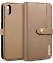 Apple iPhone XS Max Leren 2-in-1 Bookcase en Back Cover Hoesje Bruin