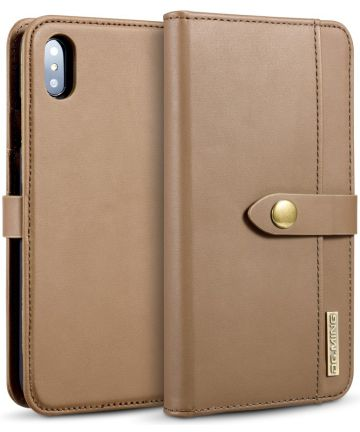 Apple iPhone XS Max Leren 2-in-1 Bookcase en Back Cover Hoesje Bruin Hoesjes