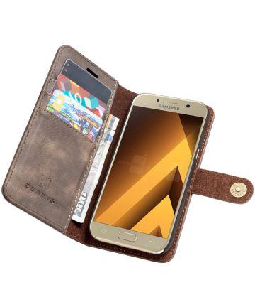 Samsung Galaxy A5 (2017) Echt Leren Portemonnee Hoesje Coffee Hoesjes