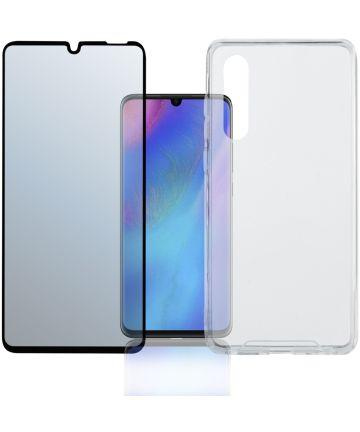 4smarts Colour Frame Tempered Glass + TPU Hoesje Huawei P30 Zwart Hoesjes