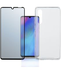 4smarts Colour Frame Tempered Glass + TPU Hoesje Huawei P30 Pro Zwart
