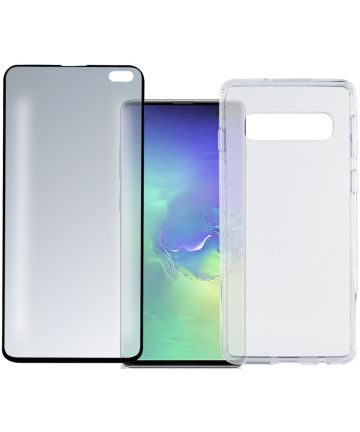 4smarts Colour Frame Tempered Glass + TPU Hoesje Galaxy S10 Plus Zwart Hoesjes