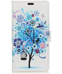 Huawei P30 Lite Portemonnee Hoesje met Print Bloemen