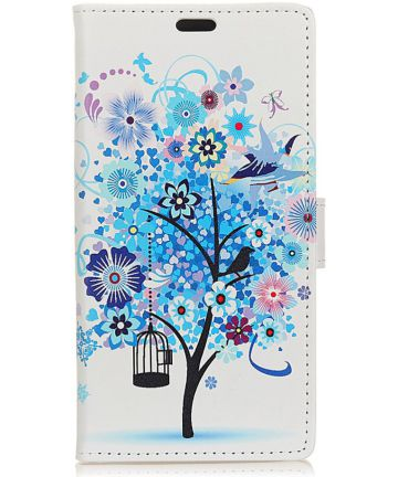 Huawei P30 Lite Portemonnee Hoesje met Print Bloemen Hoesjes