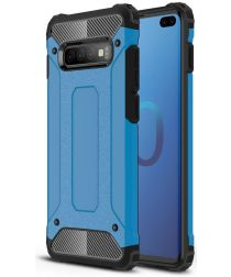Samsung Galaxy S10 Plus Hoesje Shock Proof Hybride Back Cover Blauw