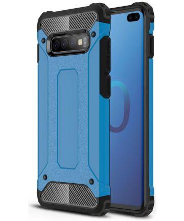 Samsung Galaxy S10 Plus Hoesje Shock Proof Hybride Back Cover Blauw Hoesjes