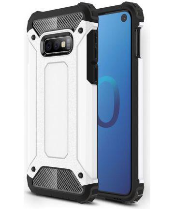 Samsung Galaxy S10E Hoesje Shock Proof Hybride Backcover Wit Hoesjes