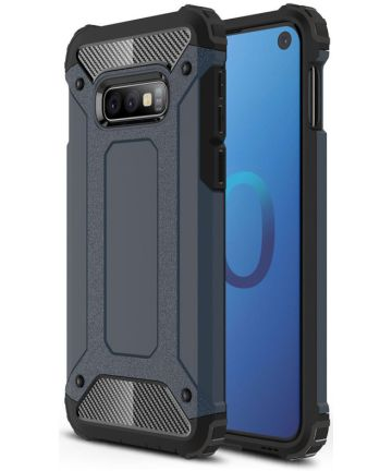 Samsung Galaxy S10E Hoesje Shock Proof Hybride Backcover Donker Blauw Hoesjes