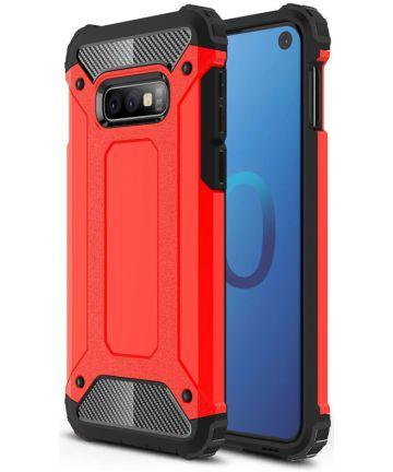 Samsung Galaxy S10E Hoesje Shock Proof Hybride Backcover Rood Hoesjes