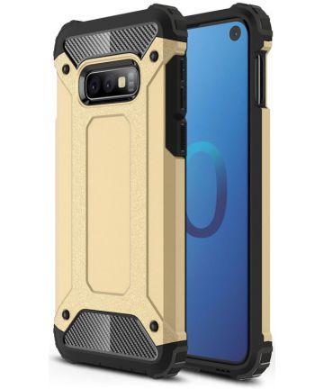 Samsung Galaxy S10E Hoesje Shock Proof Hybride Backcover Goud Hoesjes
