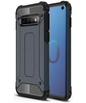 Samsung Galaxy S10 Hoesje Shock Proof Hybride Back Cover Donker Blauw Hoesjes