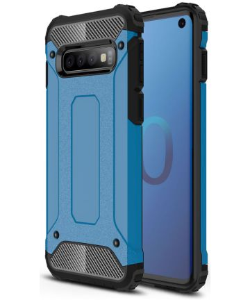 Samsung Galaxy S10 Hoesje Shock Proof Hybride Back Cover Blauw Hoesjes
