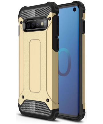 Samsung Galaxy S10 Hoesje Shock Proof Hybride Back Cover Goud Hoesjes