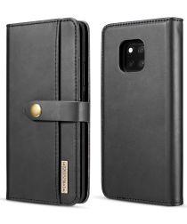 Huawei Mate 20 Pro Leren 2-in-1 Bookcase en Back Cover Hoesje Zwart