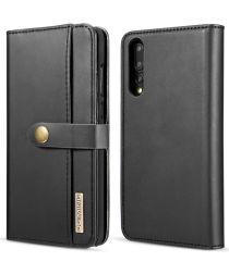 Huawei P20 Pro Leren 2-in-1 Bookcase en Back Cover Hoesje Zwart