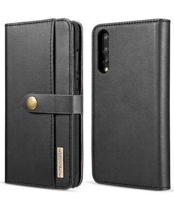 Huawei P20 Pro Leren 2-in-1 Bookcase en Back Cover Hoesje Zwart Hoesjes