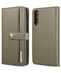 Huawei P20 Pro Leren 2-in-1 Bookcase en Back Cover Hoesje Groen