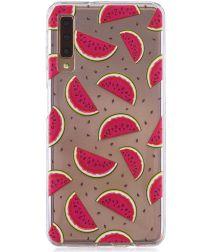 Samsung Galaxy A7 (2018)Transparant Hoesje met Print Watermeloen