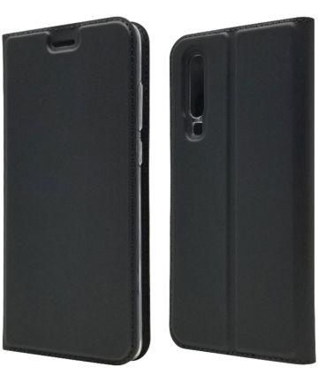 Huawei P30 Flip Hoesje met Kaart Houder Zwart