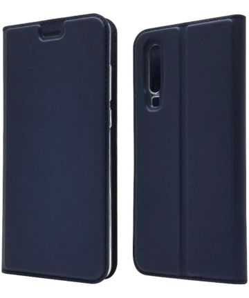 Huawei P30 Flip Hoesje met Kaart Houder Blauw