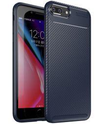 Apple iPhone 7 / 8 Plus Siliconen Carbon Hoesje Blauw