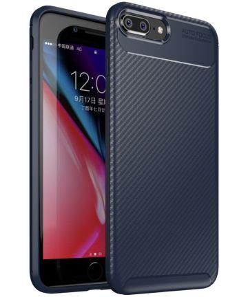Apple iPhone 7 / 8 Plus Siliconen Carbon Hoesje Blauw Hoesjes