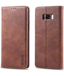 AZNS Samsung Galaxy S8 Leren Stand Portemonnee Hoesje Coffee