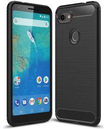 Google Pixel 3A XL Geborsteld TPU Hoesje Zwart