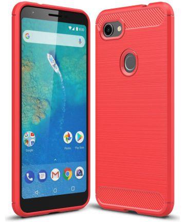 Google Pixel 3A XL Geborsteld TPU Hoesje Rood Hoesjes