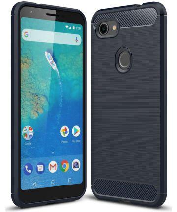Google Pixel 3A XL Geborsteld TPU Hoesje Blauw Hoesjes