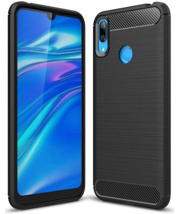 Huawei Y7 (2019) Geborsteld TPU Hoesje Zwart Hoesjes