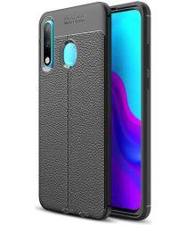 Huawei P30 Lite Litchi Hoesje TPU Met Leren Textuur Zwart