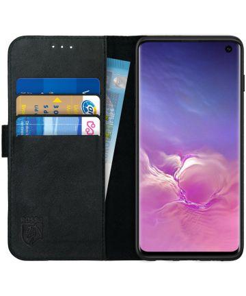 Rosso Deluxe Samsung Galaxy S10 Hoesje Echt Leer Book Case Zwart
