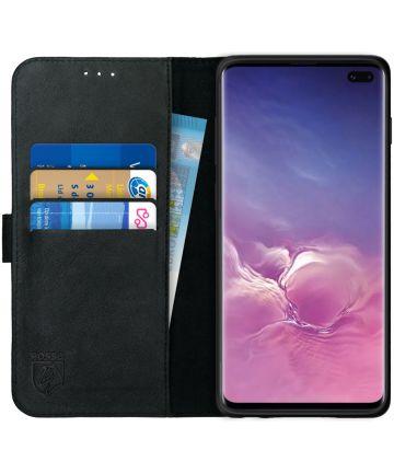 Rosso Deluxe Samsung Galaxy S10 Plus Hoesje Echt Leer Book Case Zwart