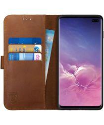 Rosso Deluxe Samsung Galaxy S10 Plus Hoesje Echt Leer Book Case Bruin