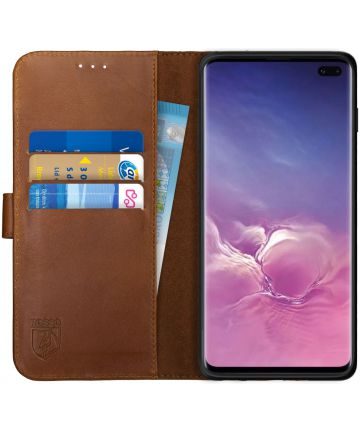 Rosso Deluxe Samsung Galaxy S10 Plus Hoesje Echt Leer Book Case Bruin Hoesjes