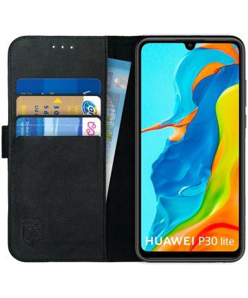 Rosso Deluxe Huawei P30 Lite Hoesje Echt Leer Book Case Zwart Hoesjes