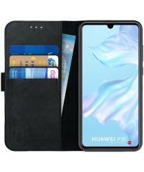 Rosso Deluxe Huawei P30 Hoesje Echt Leer Book Case Zwart
