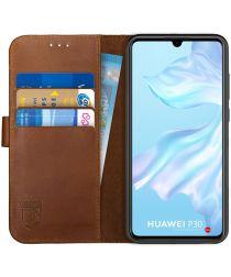 Rosso Deluxe Huawei P30 Hoesje Echt Leer Book Case Bruin