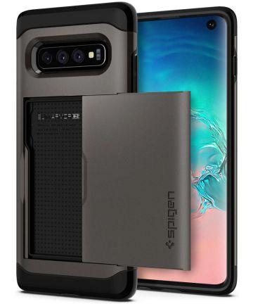 Spigen Slim Armor Card Holder Case Samsung Galaxy S10 Hoesje Gunmetal Hoesjes