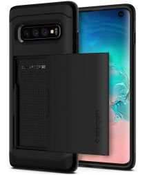 Spigen Slim Armor Card Holder Case Samsung Galaxy S10 Hoesje Zwart