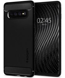 Spigen Rugged Armor Hoesje Samsung Galaxy S10 Plus Zwart