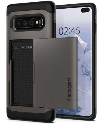 Spigen Slim Armor Card Holder Case Samsung Galaxy S10 Plus Gunmetal Hoesjes