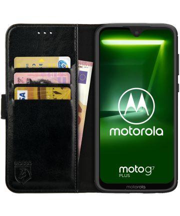 Rosso Element Motorola Moto G7 Plus Hoesje Book Cover Zwart Hoesjes