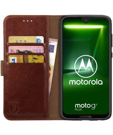Rosso Element Motorola Moto G7 Plus Hoesje Book Cover Bruin Hoesjes