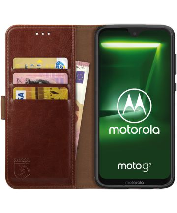 Rosso Element Motorola Moto G7 Power Hoesje Book Cover Bruin Hoesjes