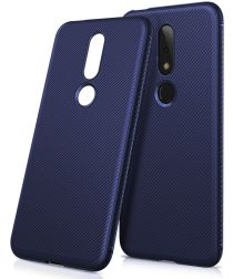 Nokia 6.1 Plus Twill Texture TPU Hoesje Blauw