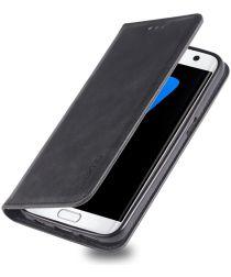 Samsung Galaxy S7 Retro Portemonnee Hoesje Zwart